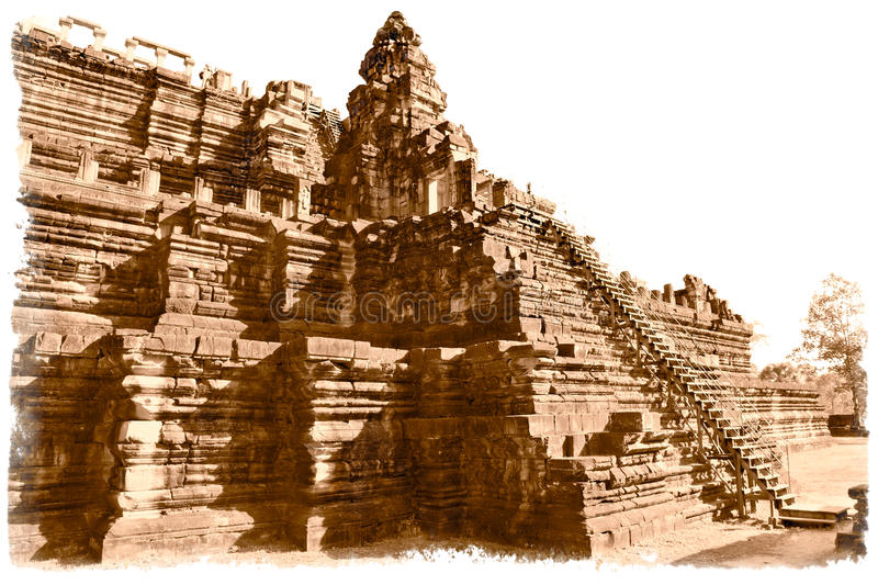 Baphuon temple, Angkor Thom City, Cambodia. Baphuon temple, Angkor Thom City, near Siem Reap, Cambodia. Sepia old style royalty free stock photos