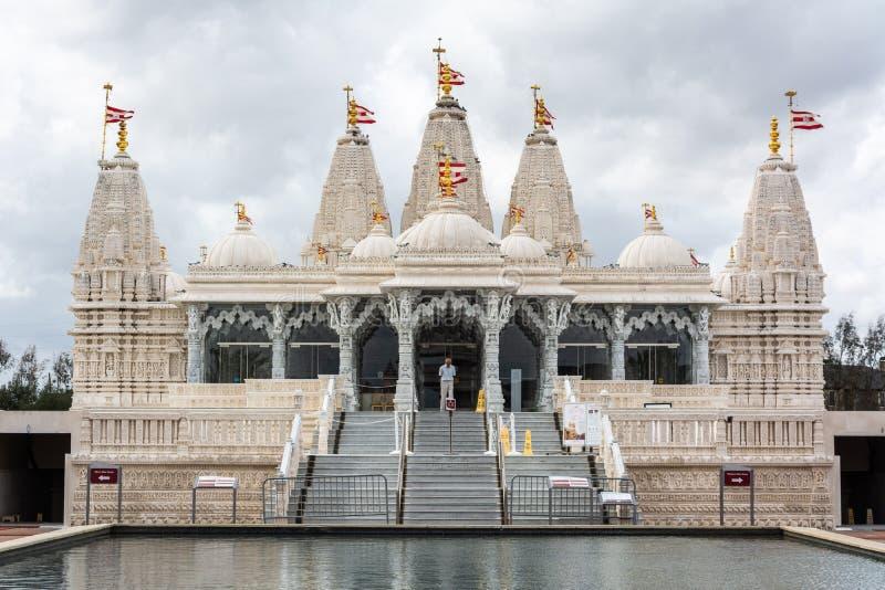BAPS Shri Swaminarayan Mandir för hinduisk tempel i Houston, TX arkivfoto