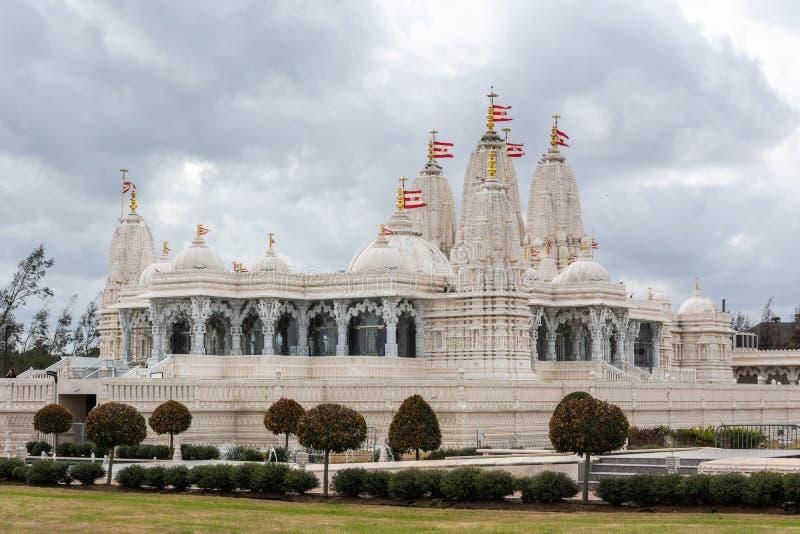 BAPS Shri Swaminarayan Mandir för hinduisk tempel i Houston, TX arkivbild