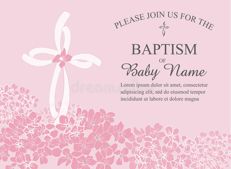 Baptême, baptême, communion, ou calibre d'invitation de confirmation avec des accents croisés et floraux illustration de vecteur
