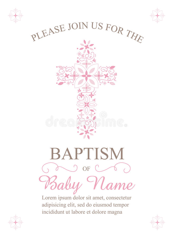 Baptême, baptême, communion, ou calibre d'invitation de confirmation - vecteur illustration de vecteur
