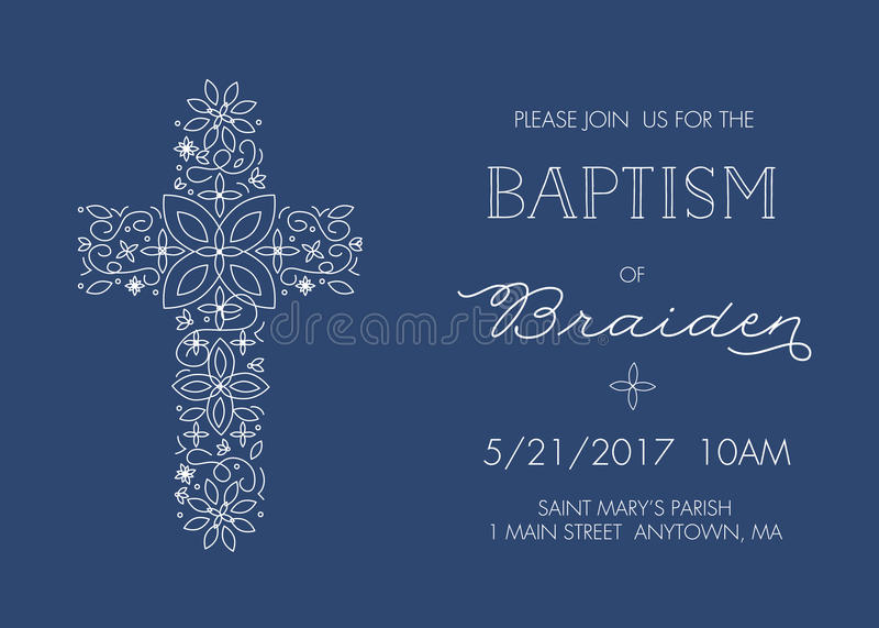 Baptême, calibre d'invitation de baptême avec la conception croisée fleurie - vecteur illustration libre de droits