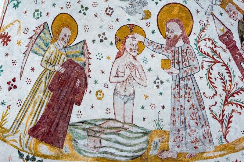 Baptême de Jésus dans Jordan River, un fresque gothique image stock