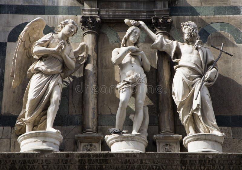 baptême du Christ - statue de Florence photo stock