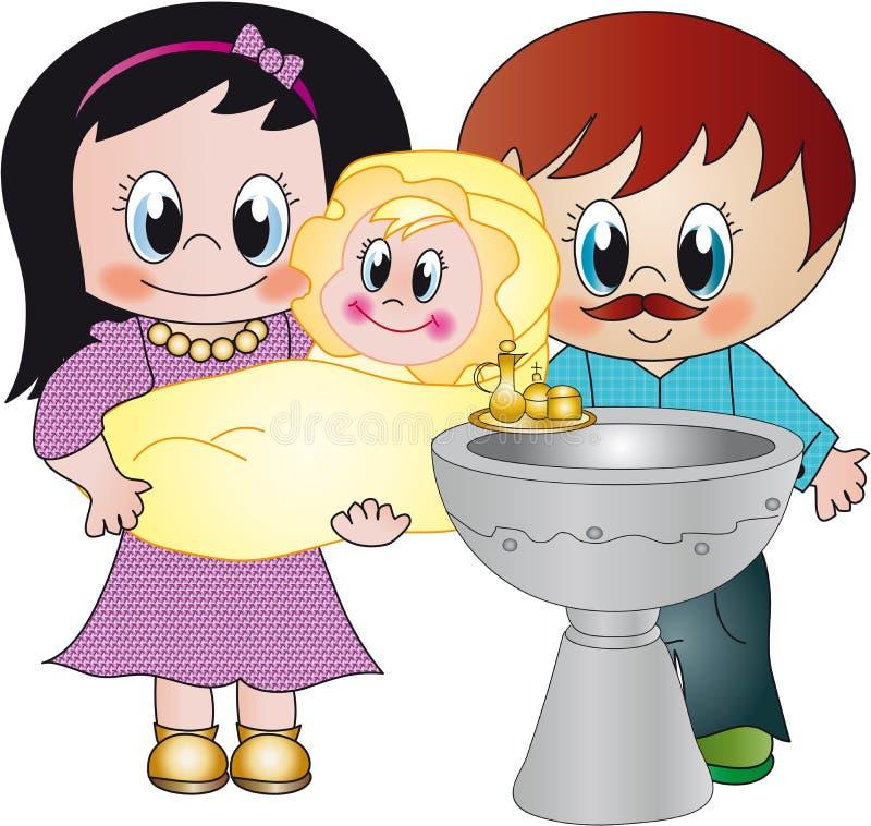 Baptism. Illustration for the celebration of a baptism stock illustration