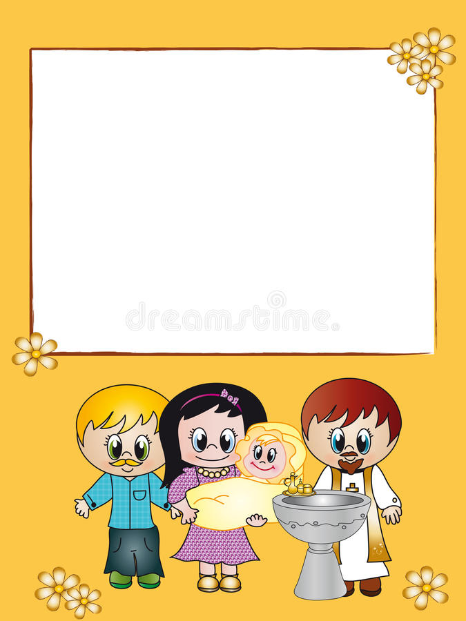 Baptism. Ticket invitation for the celebration of a baptism with space for text o photo royalty free illustration