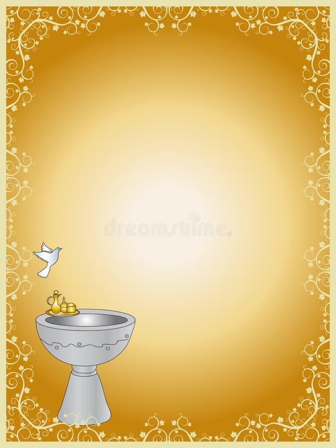 Baptism. Ticket invitation for the celebration of a baptism stock illustration