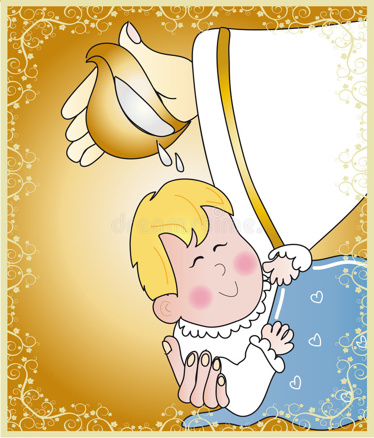 Baptism. Ticket invitation for the celebration of a baptism royalty free illustration