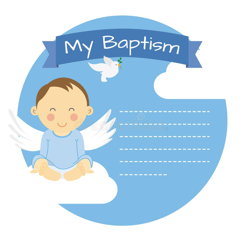 Baptism boy. Space for text stock illustration