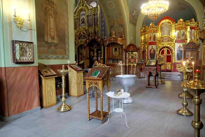 The baptism of a child in the Orthodox Church. Everything is prepared for baptism. stock image