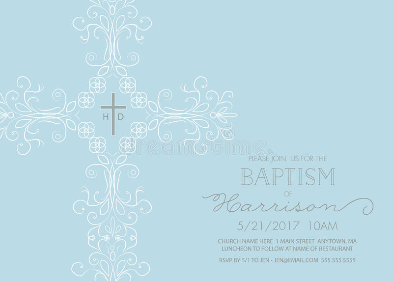 Baptism, Christening, Communion, or Confirmation Invitation Template. With intricate cross royalty free illustration
