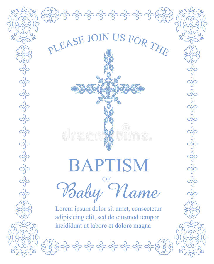 Baptism, Christening, First Communion, Confirmation Invitation Template with Ornate Cross and Border. Customizable file perfect for any religious occasion vector illustration
