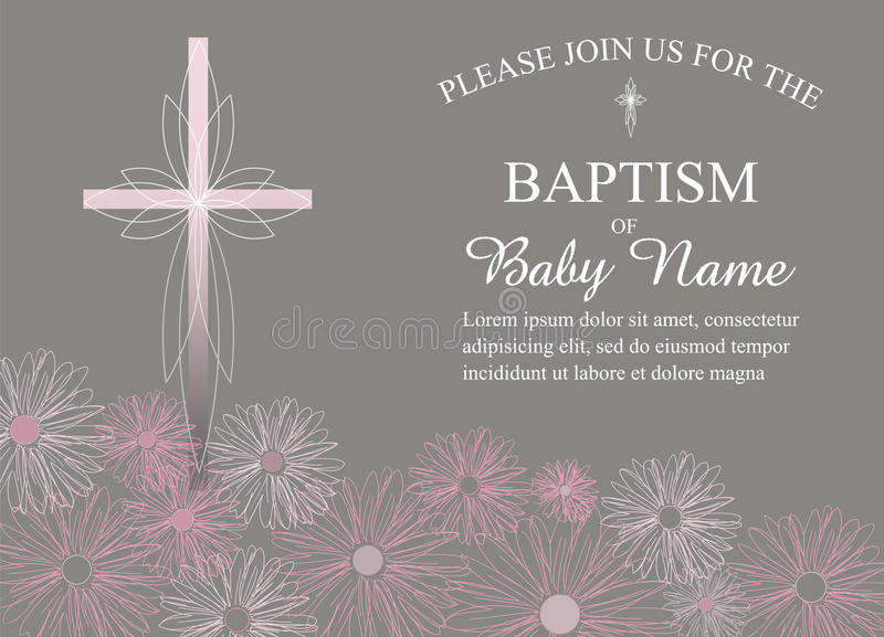 Baptism, Christening, First Communion Invitation Template with Flowers and Cross - Vector. Baptism, Christening, First Communion, or Confirmation Invitation royalty free illustration