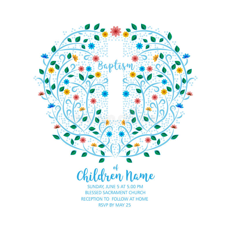 Baptism, Christening Invite - Invitation Template with Cross. And Flowers, Floral Wreath stock illustration
