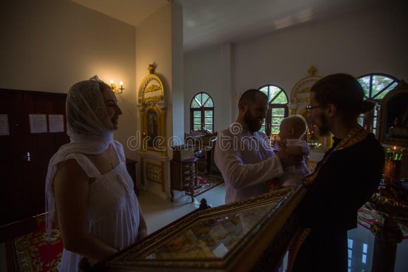 During Baptism - Christian sacrament of spiritual birth. KOH CHANG, THAILAND - MAR 10, 2018: During Baptism - Christian sacrament of spiritual birth. There are royalty free stock photo