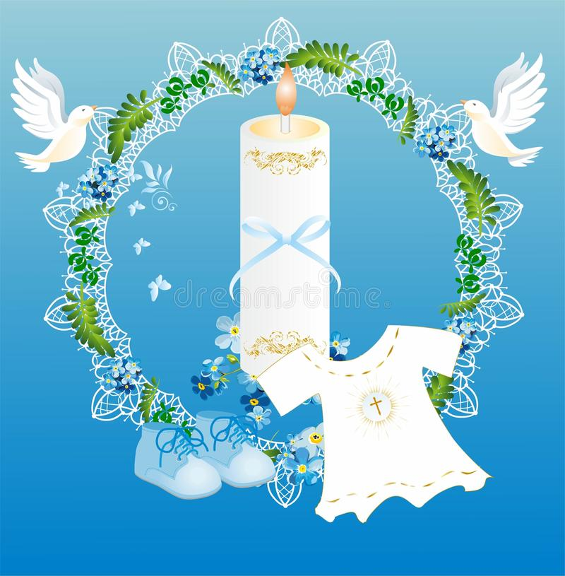 Baptism. Composition with characteristic symbols of baptism in the Catholic Church vector illustration