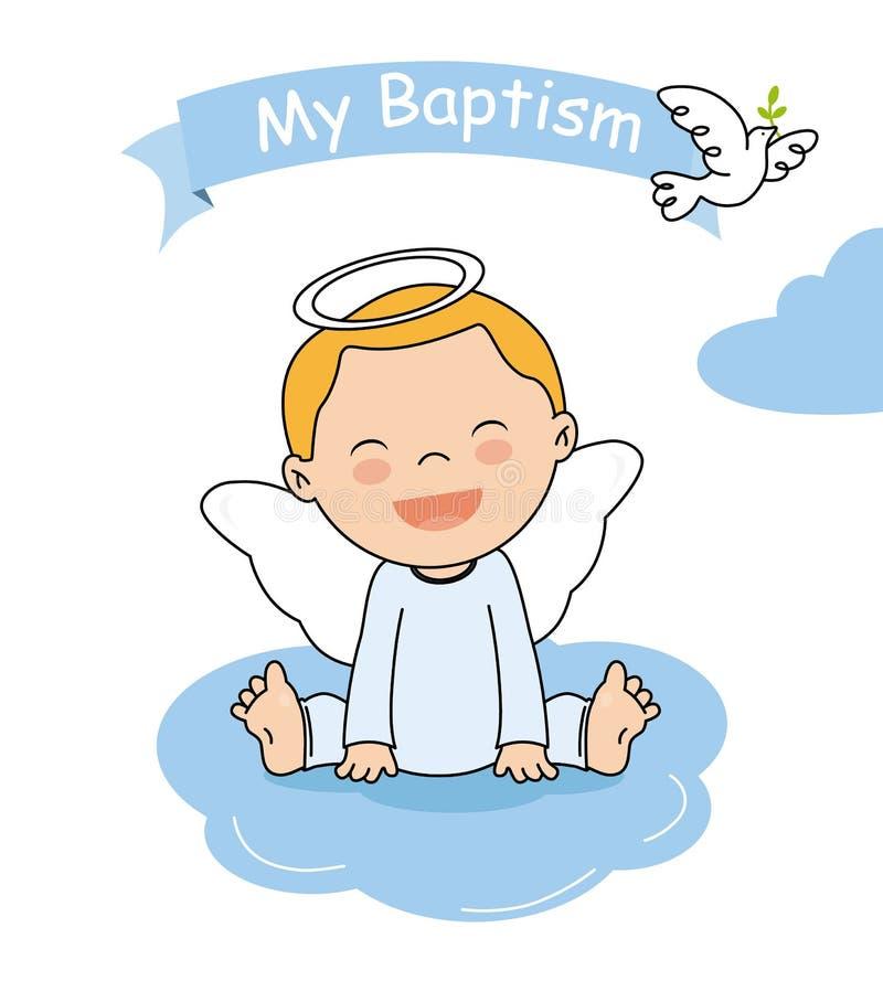 Baptism invitation card. Smiling angel boy sitting on a cloud vector illustration