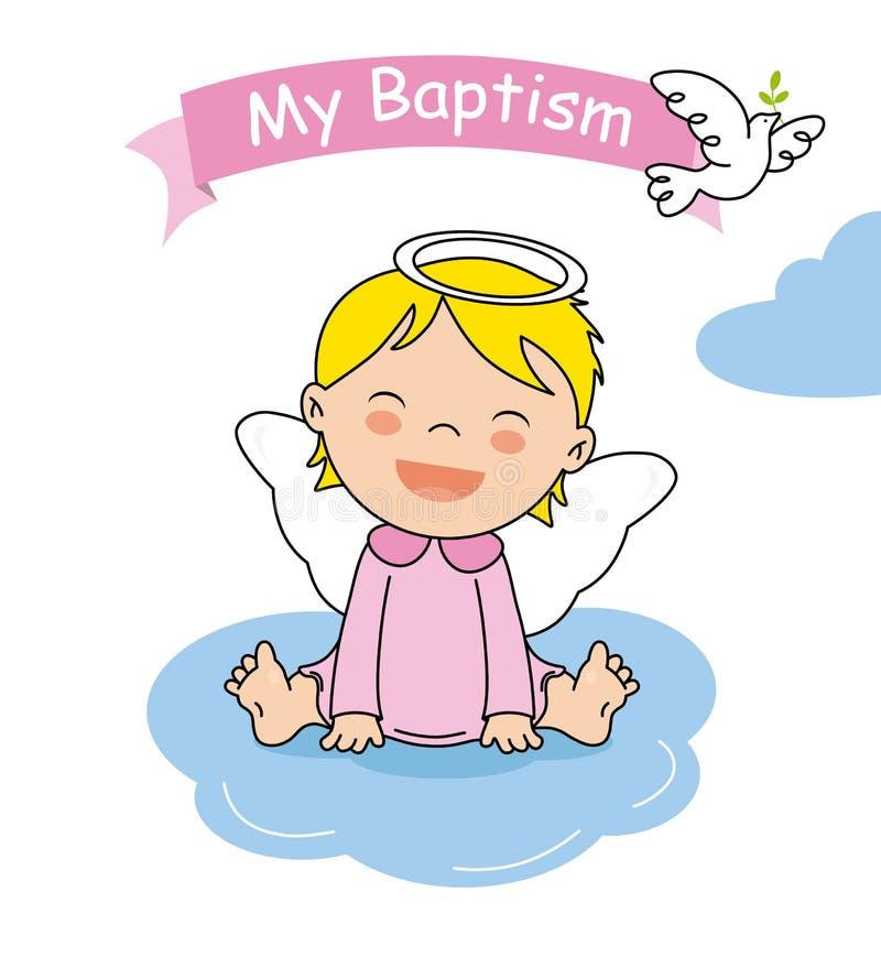 Baptism invitation card. Smiling angel girl sitting on a cloud vector illustration