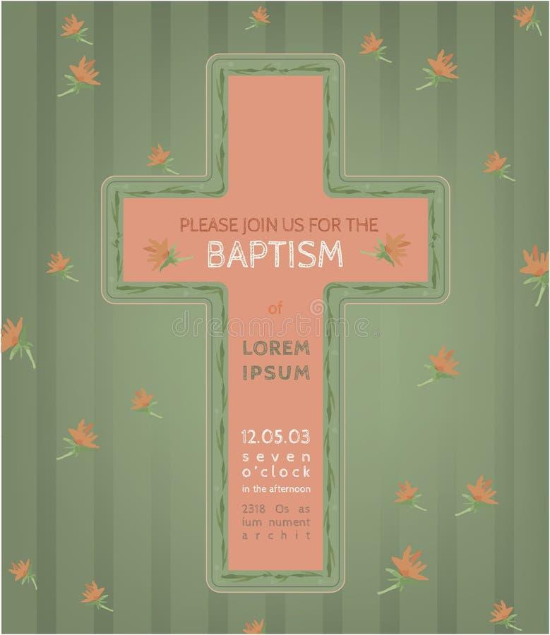 Baptism invitation card vector illustration