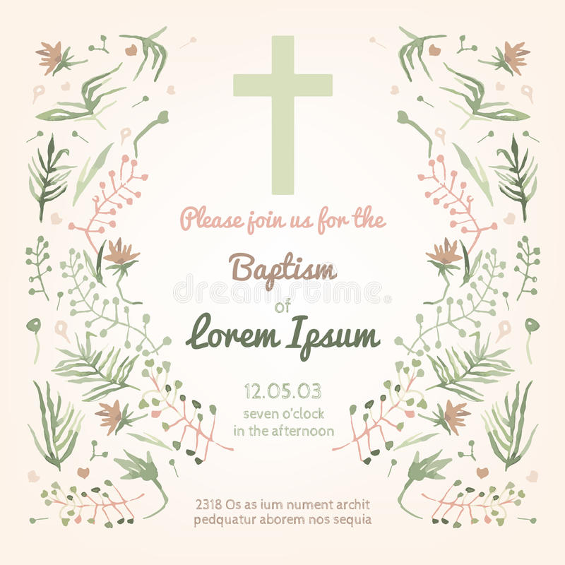 Baptism invitation card. Beautiful Baptism invitation card with floral hand drawn watercolor elements. Cute and romantic vintage style. Vector image in light stock illustration