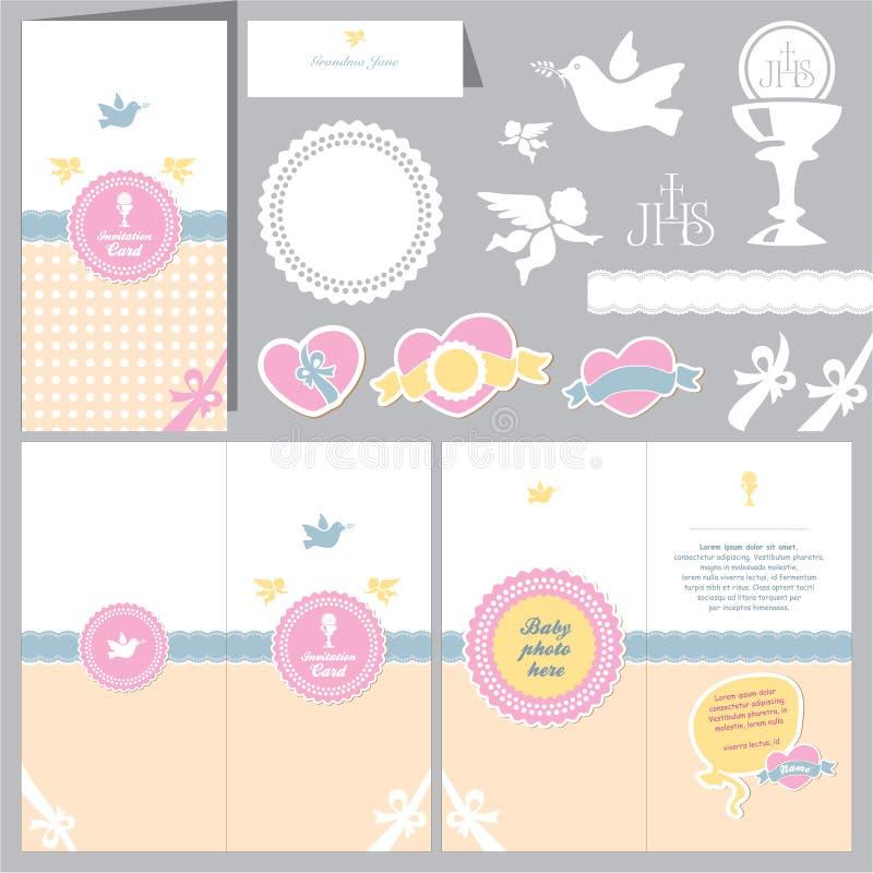 Baptism invitation. Christening card. Invitation baby card. Baptism invitation. Christening card. First communion stock illustration