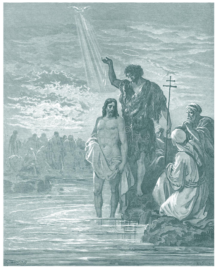 The Baptism of Jesus. For editorial use royalty free illustration