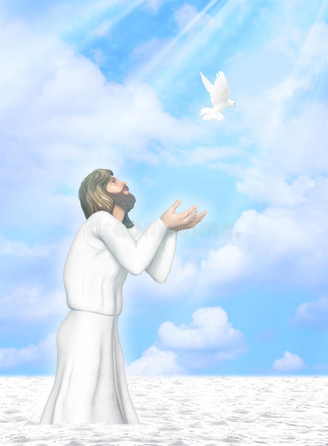 Baptism of Jesus Illustration. Jesus came up from the water after the baptism with his hands opened for the heaven royalty free illustration