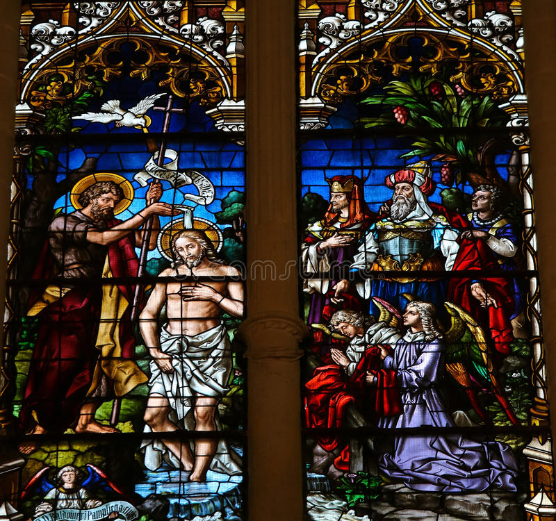 Baptism of Jesus by Saint John - Stained Glass in Burgos Cathedral royalty free stock images