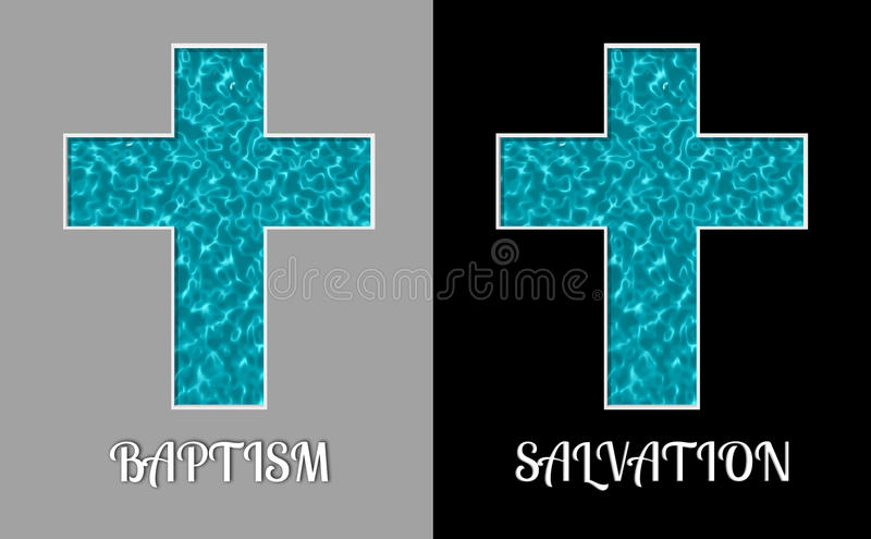 Baptism Salvation Cross Holy Water Pool Illustration. Concept of cross filled with the Holy Water for baptism vector illustration