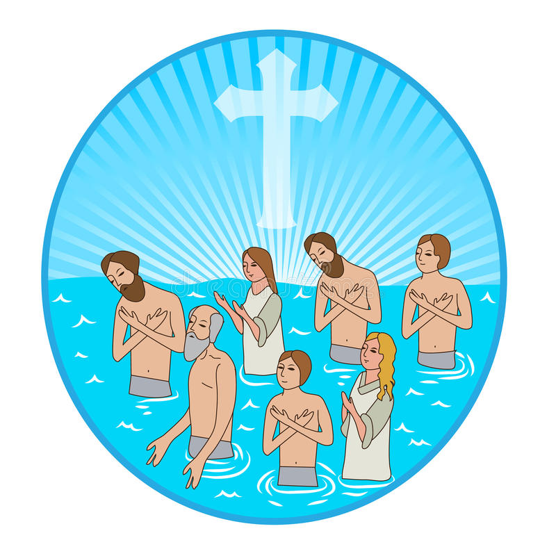 Baptism In Water. Christian Cross. Vector Illustration. Water And Spirit. Water And Holy Spirit. stock illustration