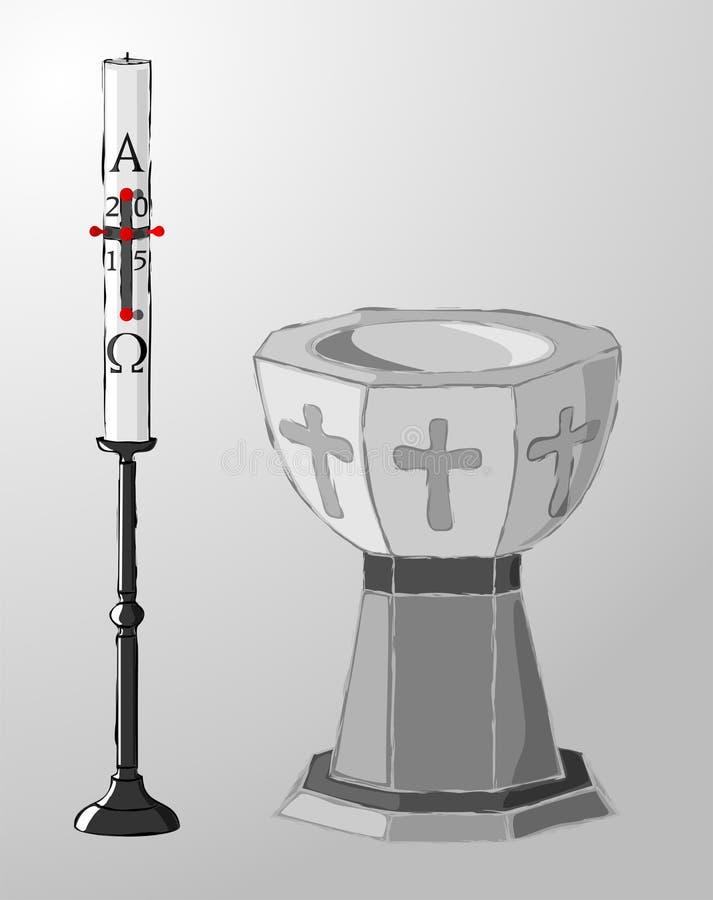 Baptismal шрифт и paschal свеча, крещение иллюстрация штока