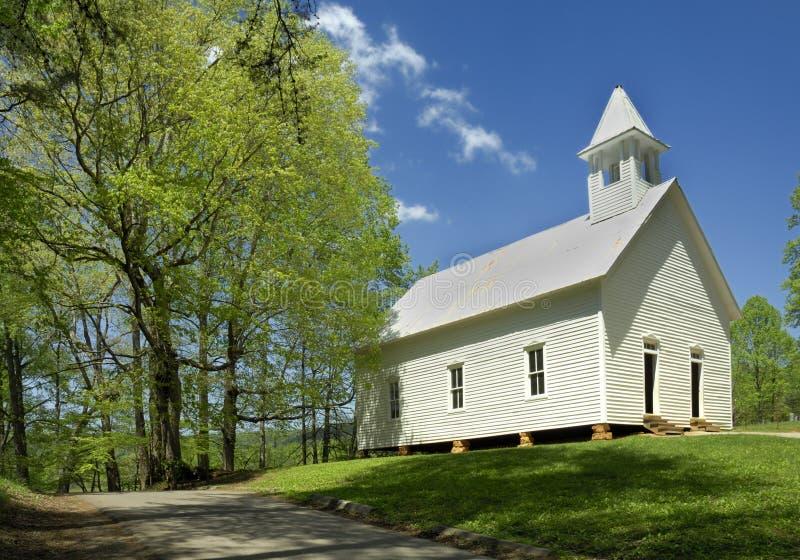 Baptist Church primitivo na angra de Cades das montanhas fumarentos, TN, U foto de stock royalty free