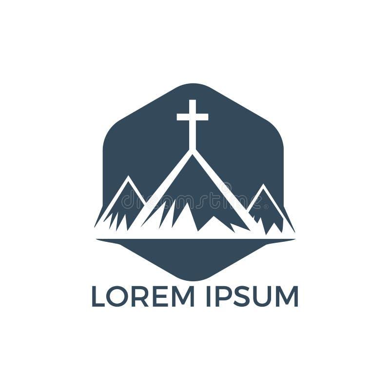 Baptist cross in mountain logo design. vector illustration