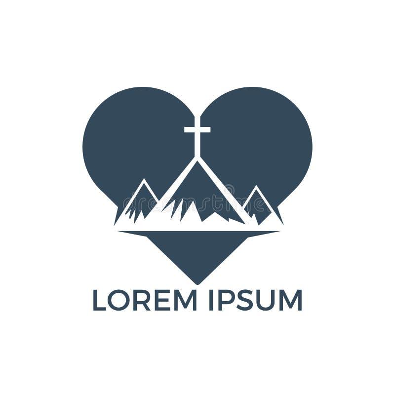 Baptist cross in mountain logo design. stock illustration