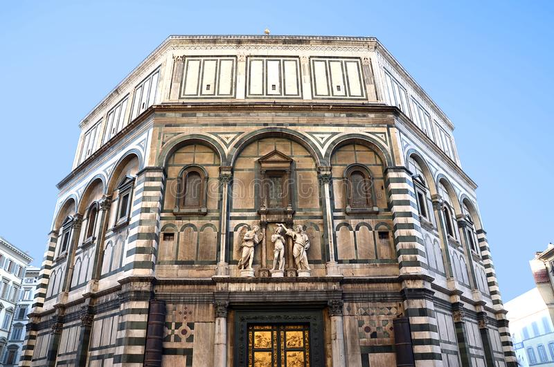 Baptistery of Florence with its characteristic door of gold tiles royalty free stock photography