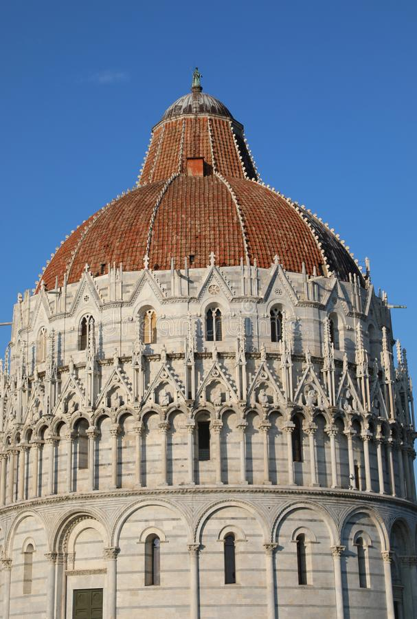 Baptistery of Pisa in Italy. In the Square of Miracles stock image