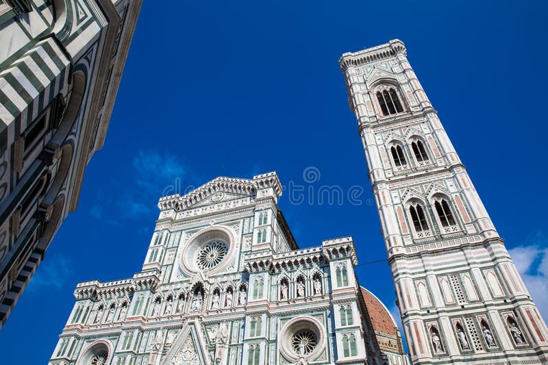 Baptistery of St. John, Giotto Campanile and Florence Cathedral consecrated in 1436 royalty free stock images