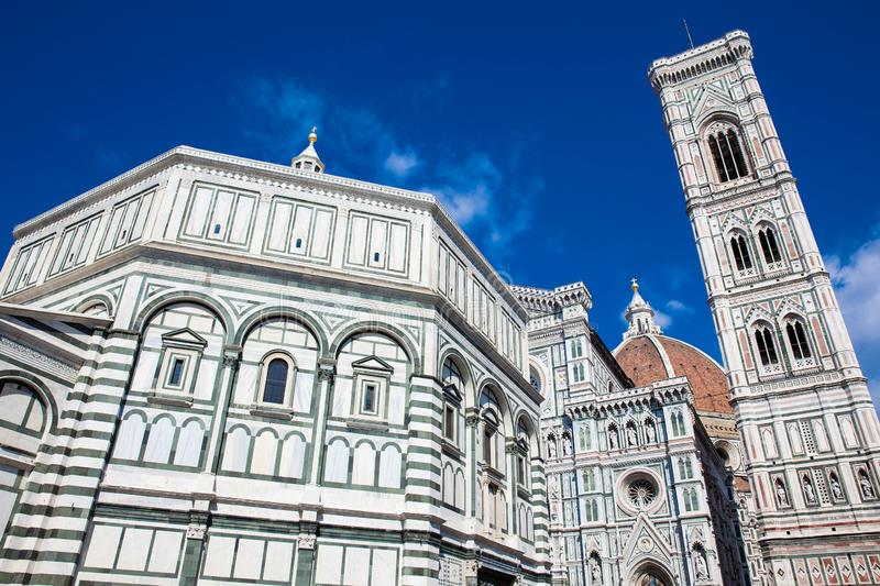 Baptistery of St. John, Giotto Campanile and Florence Cathedral consecrated in 1436 stock images