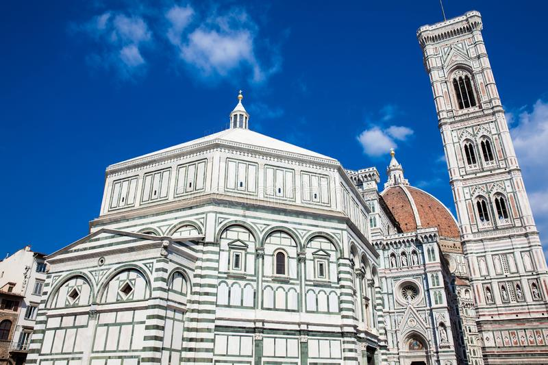 Baptistery of St. John, Giotto Campanile and Florence Cathedral consecrated in 1436 stock image