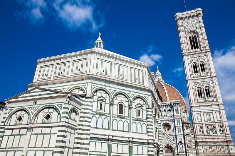 Baptistery of St. John, Giotto Campanile and Florence Cathedral consecrated in 1436 stock photography