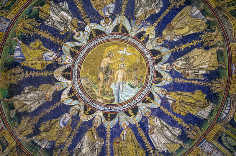 baptysterium Italy neon Ravenna obraz royalty free
