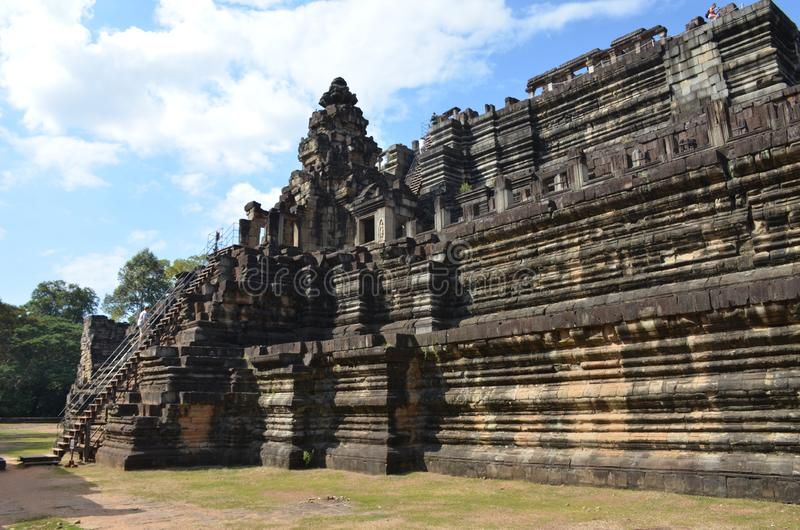 Bapuon Temple in the ancient temple complex of Angkor, Cambodia. Side view stock photography