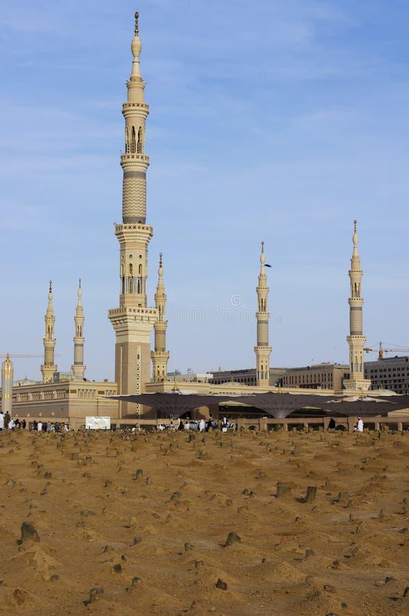 baqee墓地masjid回教nabawi视图 库存图片