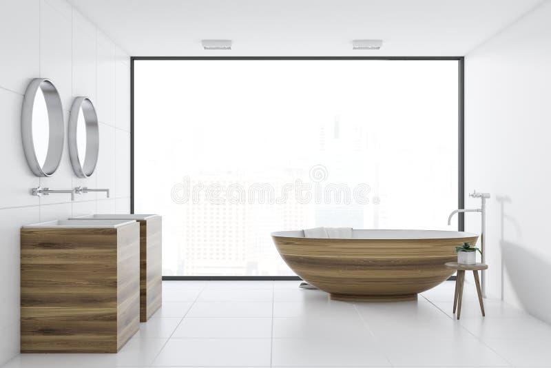 Baquet de salle de bains blanche et évier intérieurs et en bois illustration stock