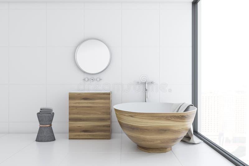 Baquet de salle de bains blanche et évier intérieurs et en bois, côté illustration de vecteur