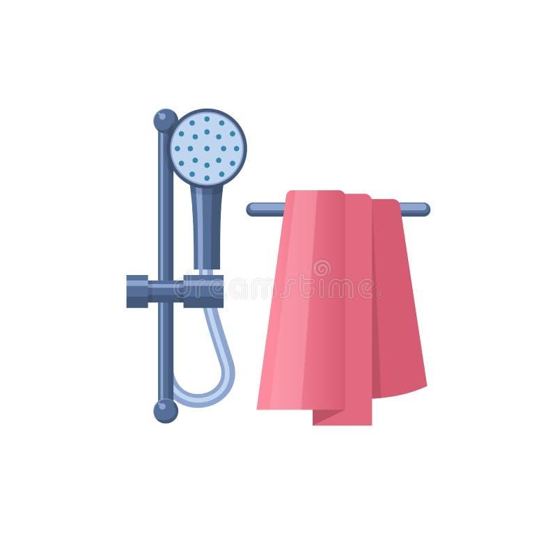 Baquet de salle de bains ou meubles à la maison de bain pour la pièce de douche illustration libre de droits