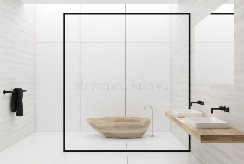 Baquet en bois et éviers de salle de bains blanche illustration stock