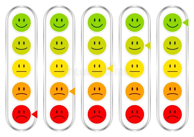 Barômetro cinco vertical com as caras que mostram a cor e a prata do humor ilustração royalty free