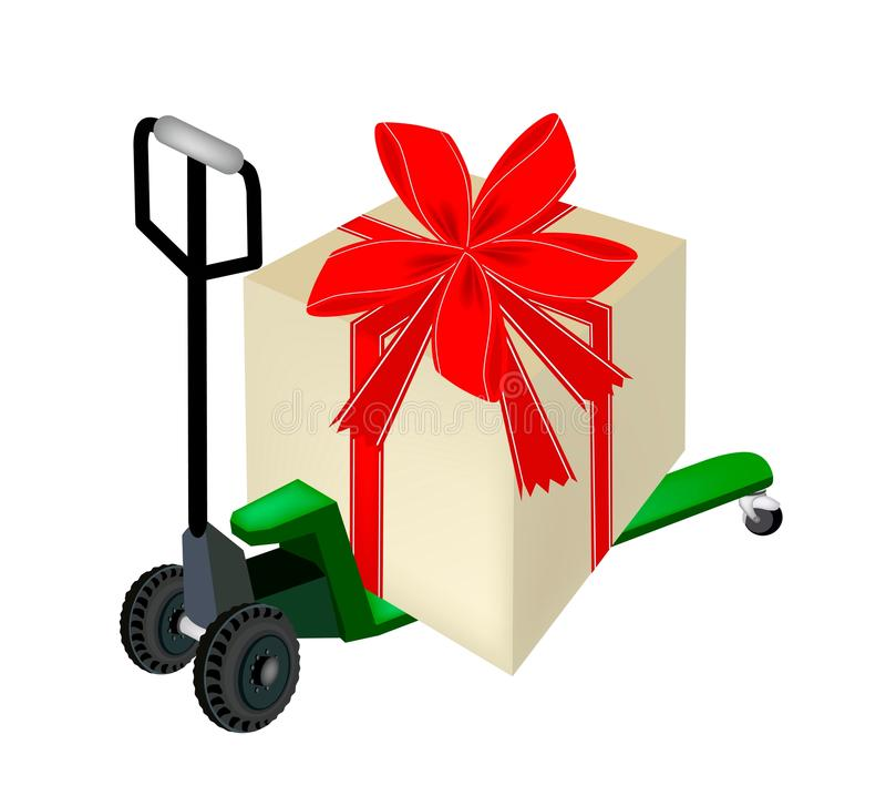Barłóg ciężarówka Ładuje Dużego prezenta pudełko ilustracji