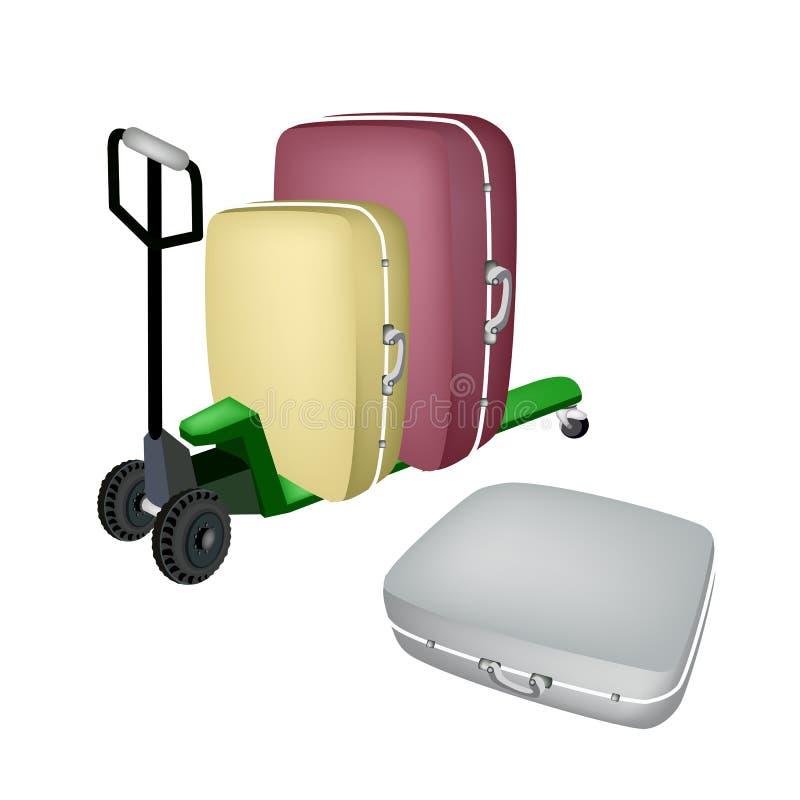 Barłóg ciężarówki ładowania podróży Zielone walizki ilustracji